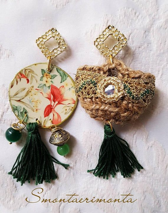 Sicilian Coffie Earrings In Green Sicilia Orecchini Fatto A
