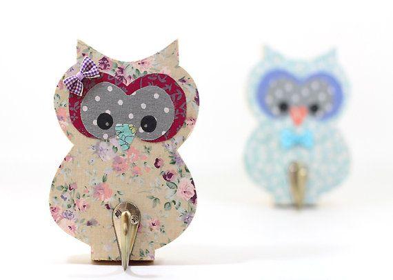 Animal Hook Hanger for Girl Room Decor wooden owl Hanger , cream purple baby girl nursery