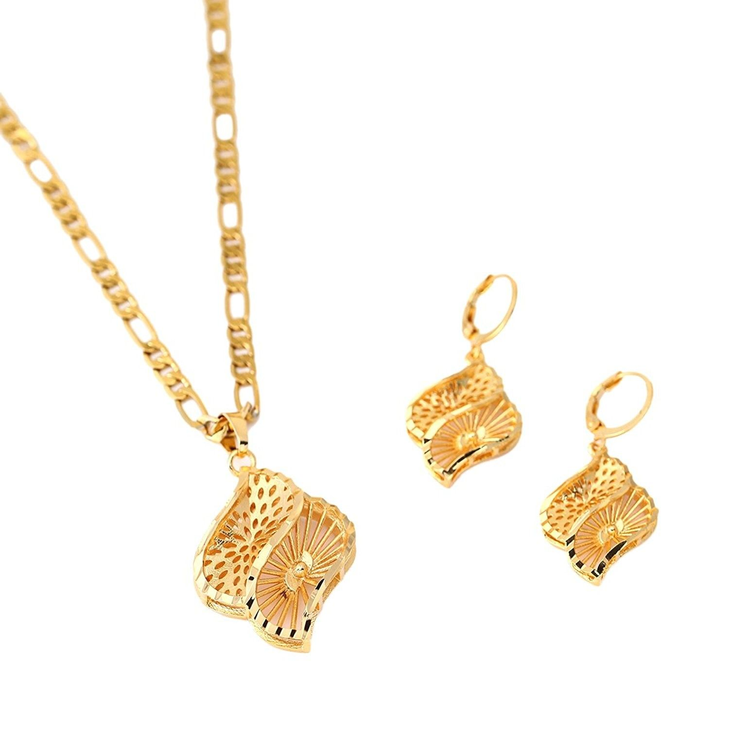 African jewelry set gold plated pendant earring geometry engagement