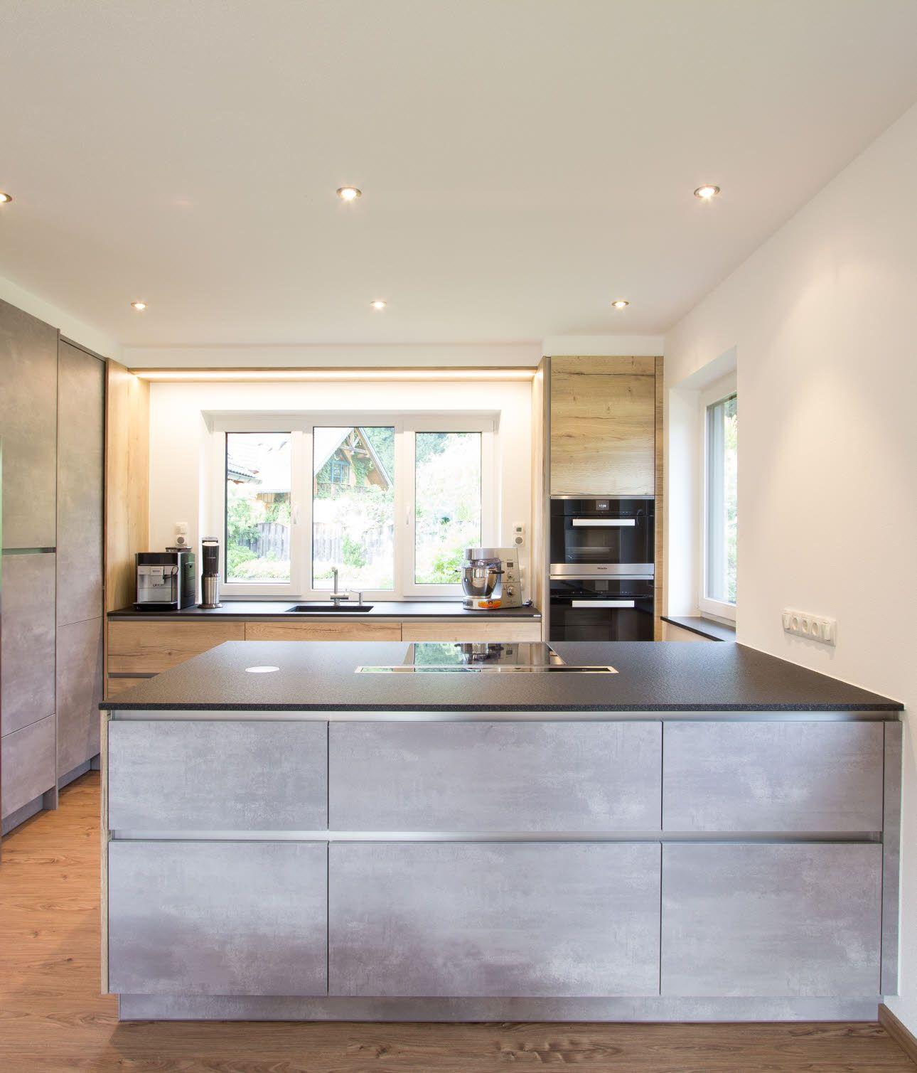 Küche in Betonoptik mit viel Stauraum Küche betonoptik
