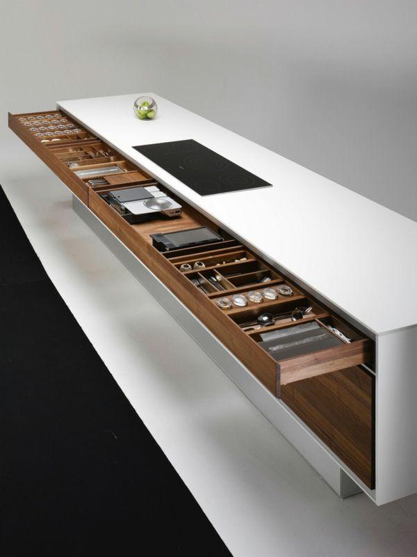arbeitsplatten für küchen schubladen geschirr funktionales design