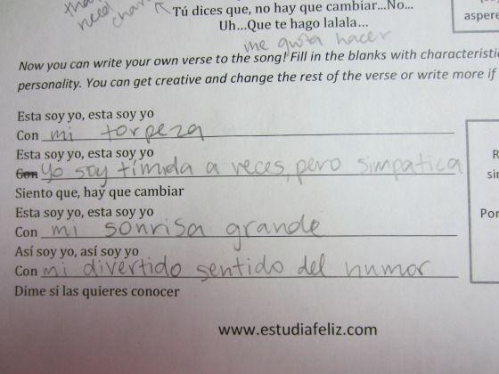 """Creative-writing song activity: """"Esta soy yo"""" – Francisca Valenzuela (Ser, Descripciones)   estudiafeliz  set and ant"""