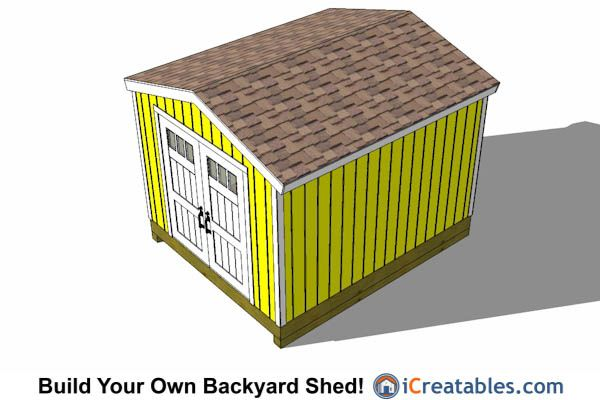 10x14 Gable Shed That Uses Pre Hung Doors Diy Storage Design 10x14 Shed Shed Plans