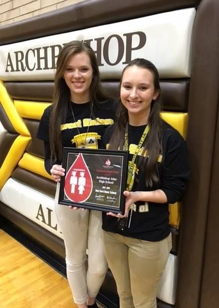 Congratulations to Archbishop Alter High School - a CBC Red Cord Honor School for 2015-2016! Sarah Miozzi & Angelica Kyley from the student sponsor group CURE Club accepted the award at Thursday's blood drive.