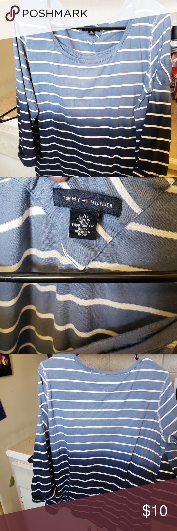 Tommy Hilfiger Ladies Top Tommy Hilfiger Blue Ombre Striped Top 3 4 Sleeves Size L Tommy Hilfiger Tops Tees Long Sleeve Tommy Hilfiger Womens Tops Hilfiger [ 1740 x 580 Pixel ]