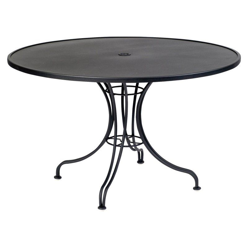 Outdoor Woodard Solid Top Round Patio Dining Table With Umbrella