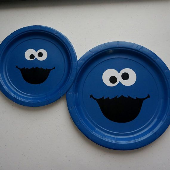DIY Plaza Sesamo Cookie Monster vinilo etiquetas por TypoRific : cookie monster paper plates - pezcame.com