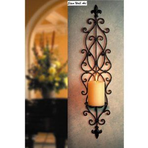 Candle Holder Wall Art Sconce Large Fancy Iron 19 22 15 00 Shipping Wall Candle Holders Wall Candles Iron Wall Art Big wall candle holders