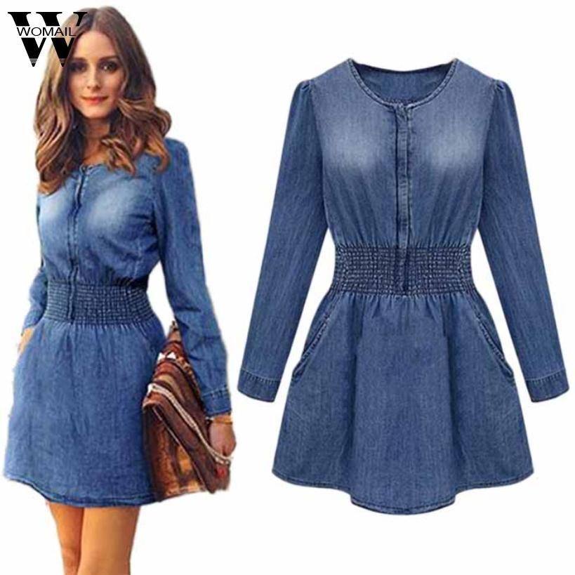 Women's Clothing 2019 New Cowboy Dress Women Solid Long Sleeve Mini Slim Denim Dress Bandage Shirt Dress Jeans Summer Casual Clubwear Streetwear