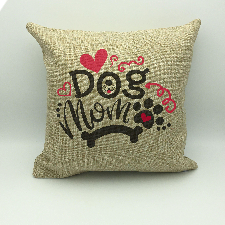 Dog pillow dog mom pillow burlap pillow dog lover