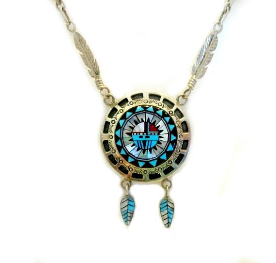 Vintage Zuni Sun God Turquoise Coral Necklace Feather Feathers Sterling Silver…