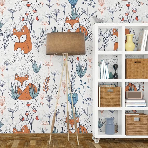 Nursery Fox Wallpaper Removable Wall Art Self Adhesive L And Stick Fabric Mural Sku