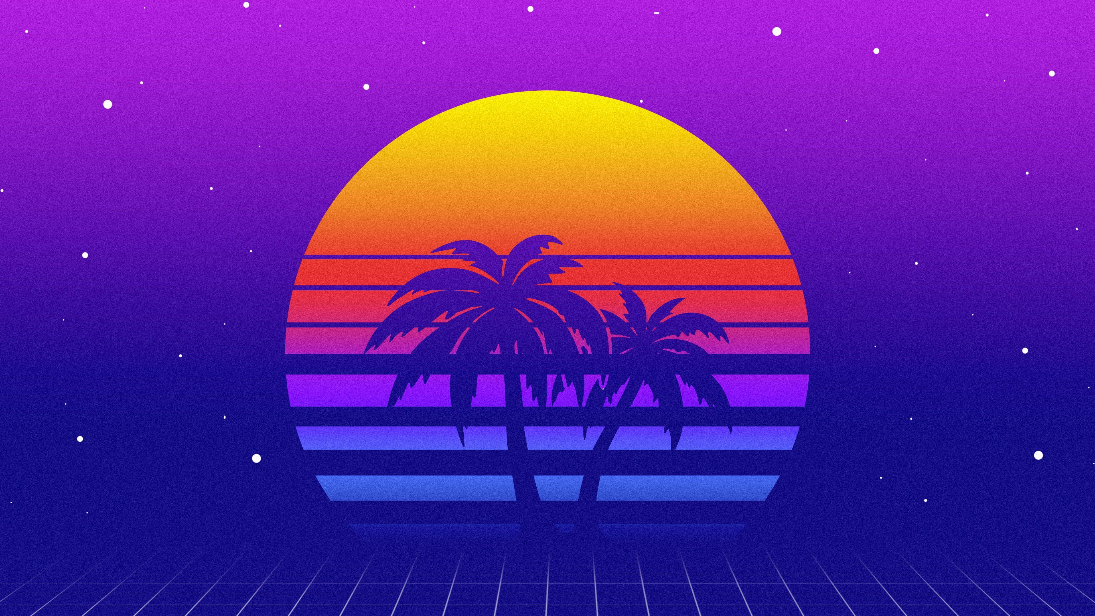 Sunset Retrowave Digital Art Synthwave 4k Wallpaper Hdwallpaper Desktop Synthwave Digital Art Hd Wallpaper