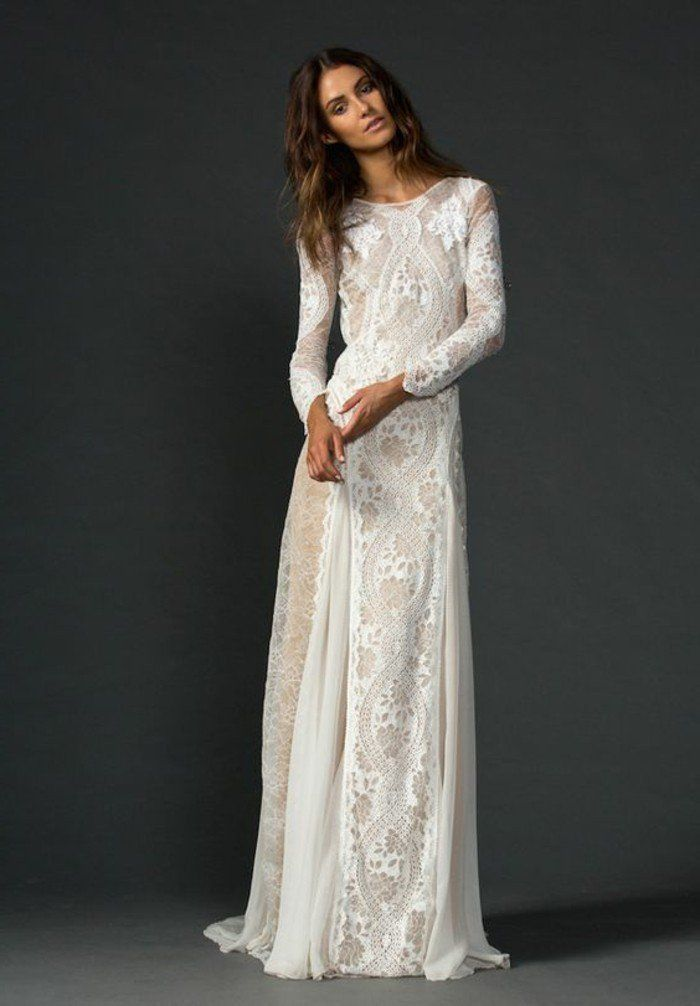 50e09545fce robe longue en dentelle blanche
