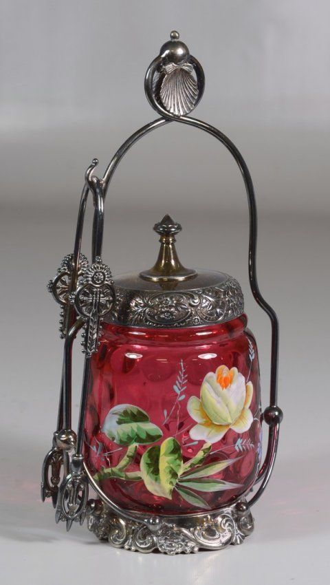 Enameled cranberry glass pickle castor mounted on a : Lot 6145