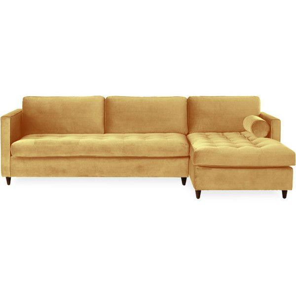 Joybird Briar Mid Century Modern Yellow Sleeper Sectional ($3,299) ❤ Liked  On Polyvore Featuring