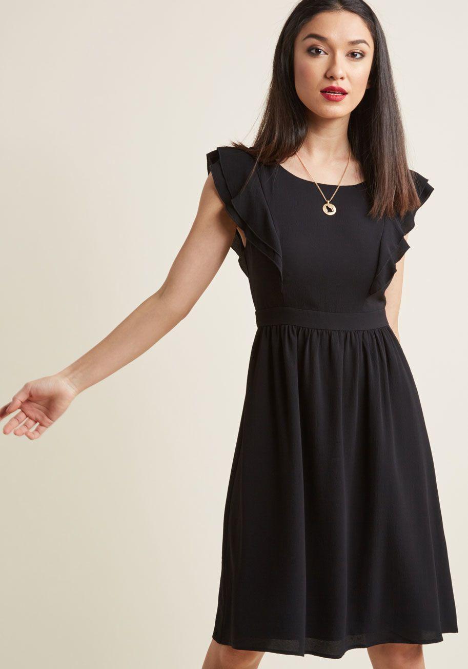 A Joy To Be Blissful A Line Dress In Black In S Modcloth Black Ruffle Dress Dresses Black Funeral Dress [ 1304 x 913 Pixel ]