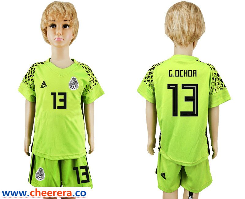 0a9095777 Mexico 13 G.OCHOA Fluorescent Green Goalkeeper Youth 2018 FIFA World Cup  Soccer Jersey