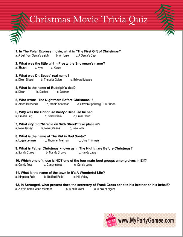 Free Printable Christmas Movie Trivia Quiz Worksheet 3 Christmas Movie Trivia Printable Christmas Games Christmas Trivia