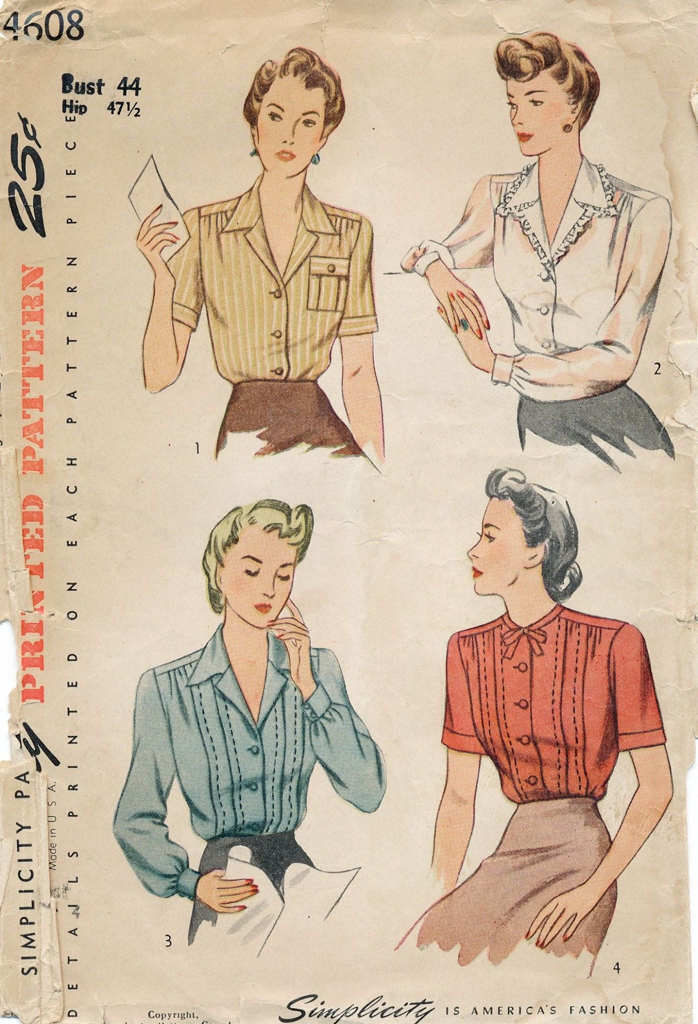 Pin by ms m on vintage patterns pinterest vintage sewing blouse pattern simplicity 4608 pintuck secretary blouse with collar choice womens vintage sewing pattern bust 34 jeuxipadfo Image collections