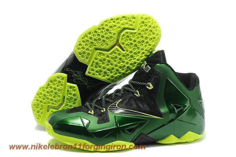 Black Green Volt Nike Lebron XI (11) Lebron James Shoes 2013 Sale