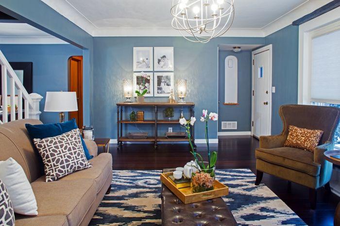 Farbgestaltung Wohnzimmer Wandgestaltung Wanddesign Blass Blau