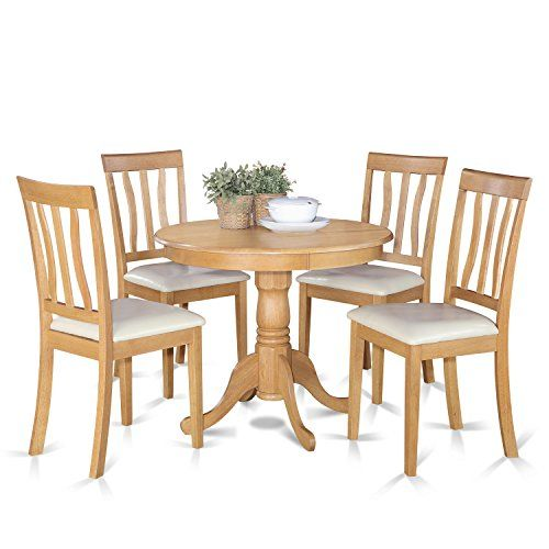 East West Furniture ANTI5-OAK-LC 5-Piece Kitchen Table Set Oak