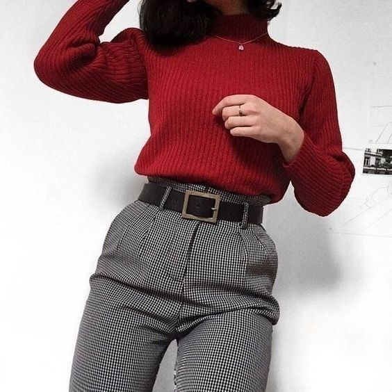 fashion inspiration wine red sweater blouse #fashion #winter #winterfashion #spring #springstyle