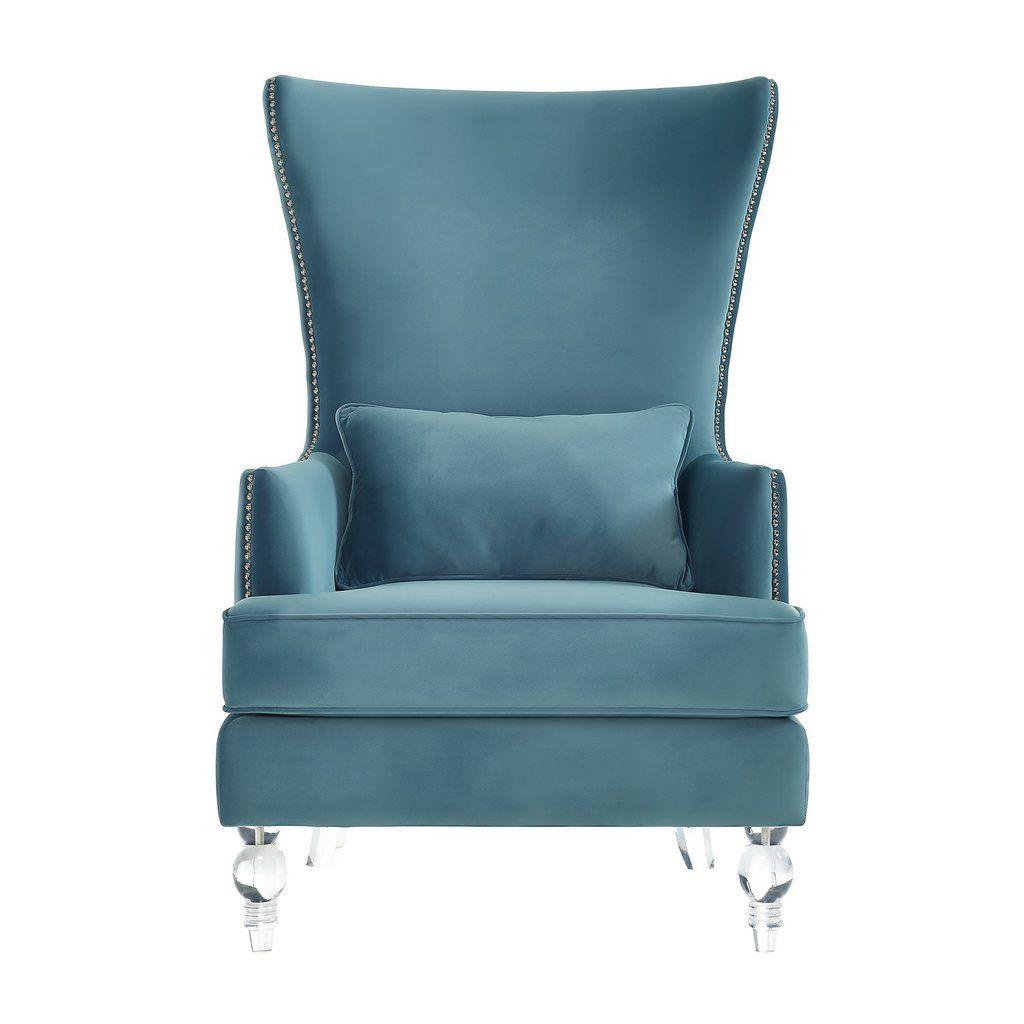 Bristol sea blue velvet chair with lucite legs lucite