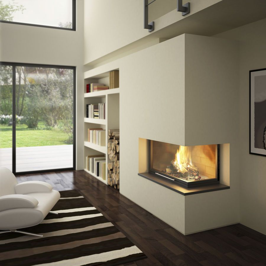 wood burning open hearth for corner fireplace lateral