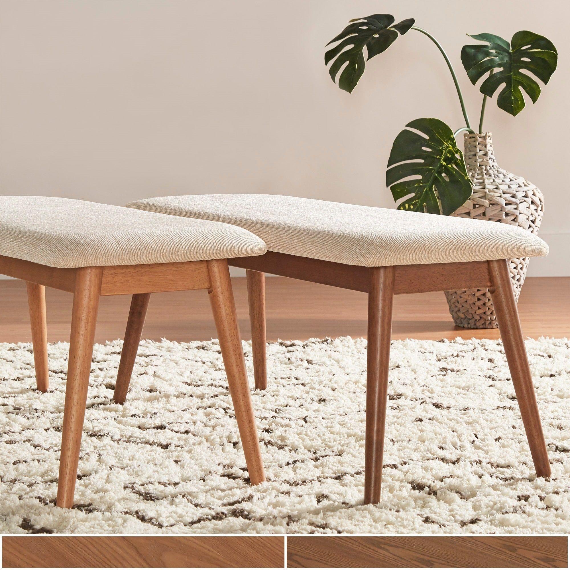 Online Furniture Free Shipping: Norwegian Danish Modern Tapered Upholstered Dining Bench