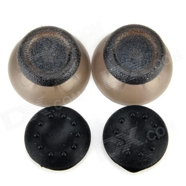 Replacement Plastic 3D Joystick Cap w/ Anti-slip Silicone Cover for PS4 (2 Pairs)