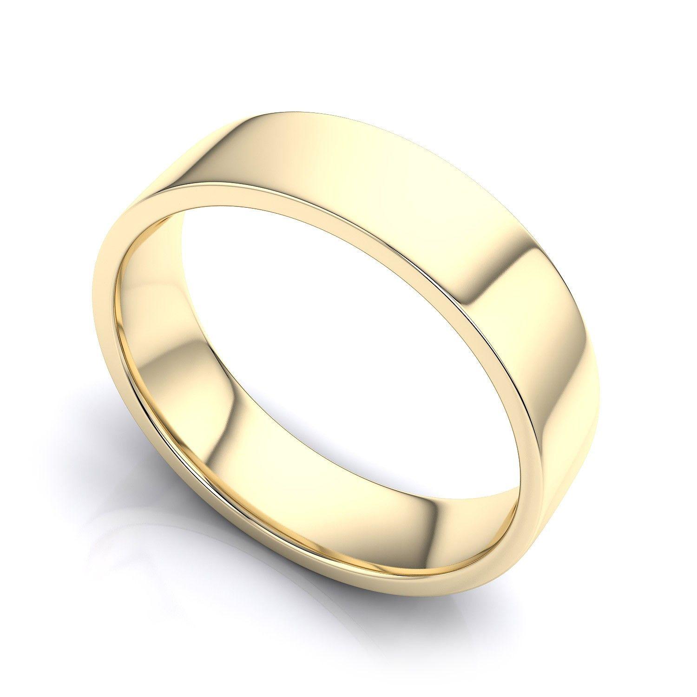 Plain Flat Court Hand Crafted Unisex Wedding Band Choice Of 9K 14K 18K