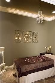 The Color Is Pretty And The Colored Ceiling Is Great Too Massage Room Decor Spa Room Decor Massage Room