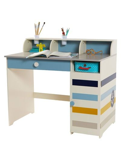 Bureau gar on multi rangements th me phare en vue beige imprime vertbaudet enfant for Amenagement bureau enfant