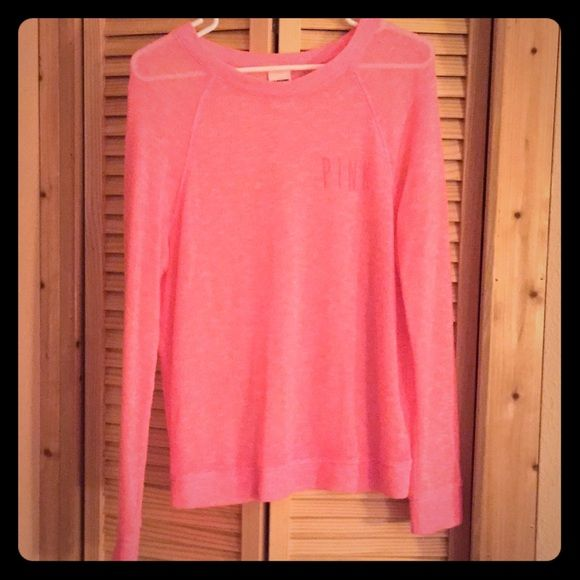 VS Pink - Neon Pink sweater. Small. Worn once!!! VS Pink - Neon Pink light sweater. Small.   Worn once!!! Perfect with jeans or leggings. PINK Victoria's Secret Sweaters Crew & Scoop Necks