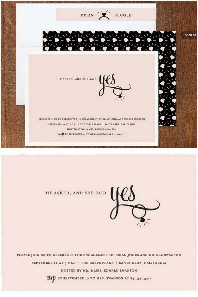 He Asked And She Said Yes Cute Engagement Invitation Cards To Say