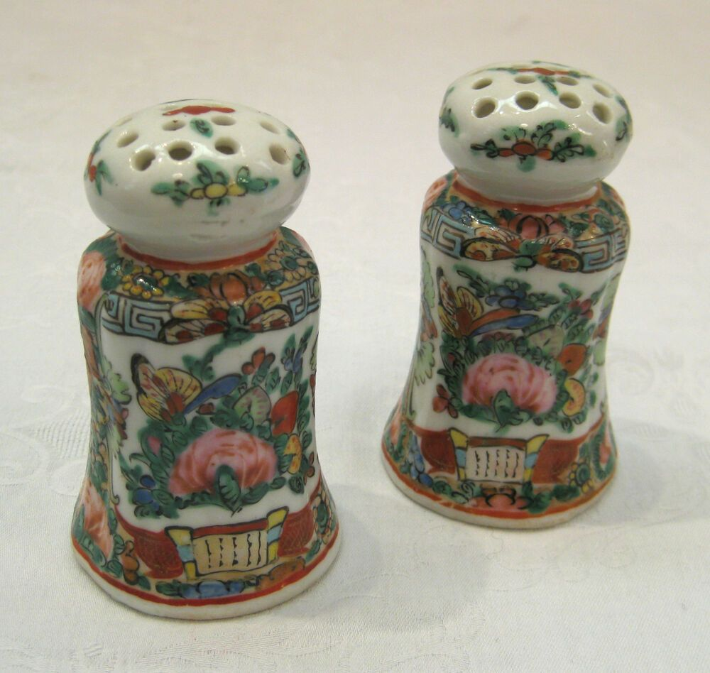Rose Canton Porcelain Salt Pepper