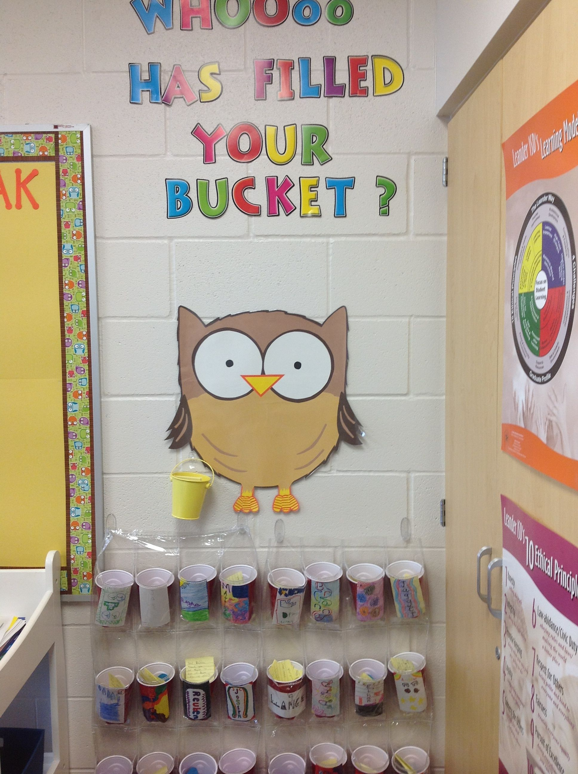 Who has filled your bucket? Class buckets using solo cups and a clear shoe holder cut in half.