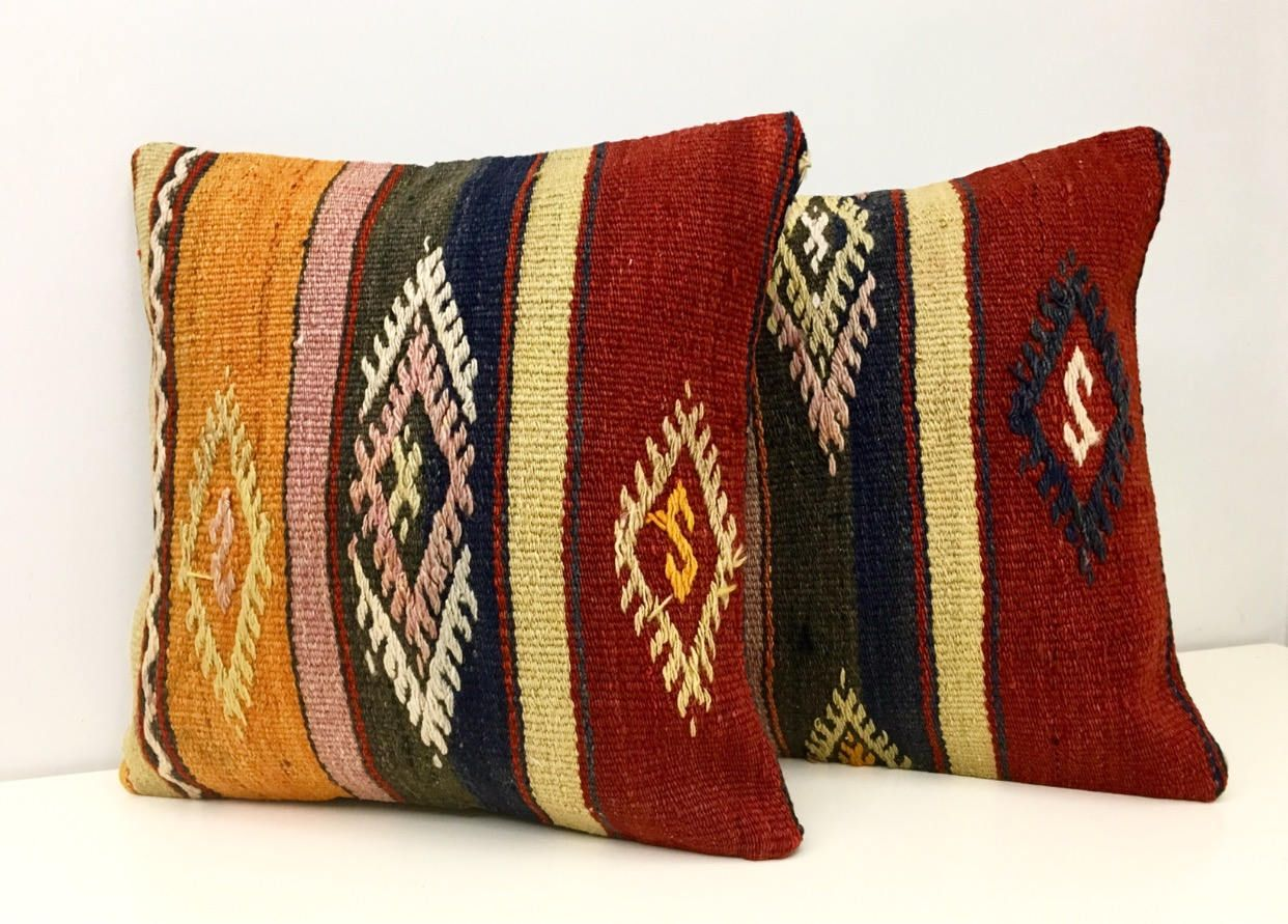 patchwork pillow detail kilim cover