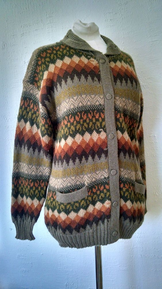 ML Kessler Cardigan Sweater Womens M Alpaca Wool Green Brown ...