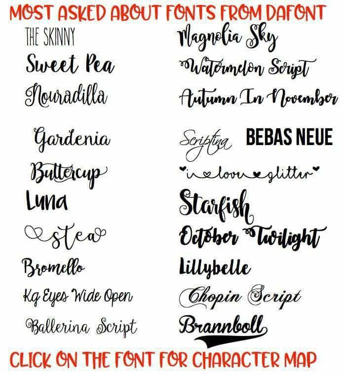 Most Asked For Fonts From Dafont Com Diy Crafts Cricut Charts