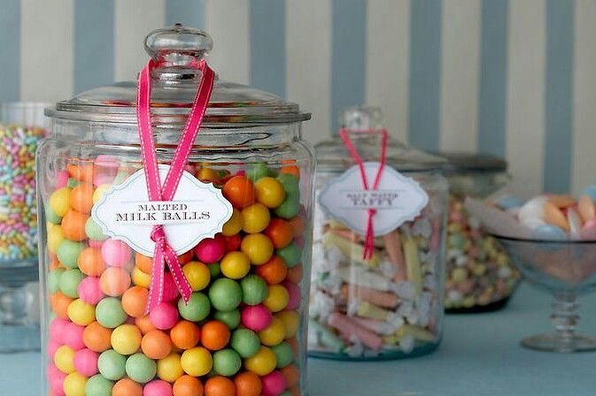 Candy in jars.