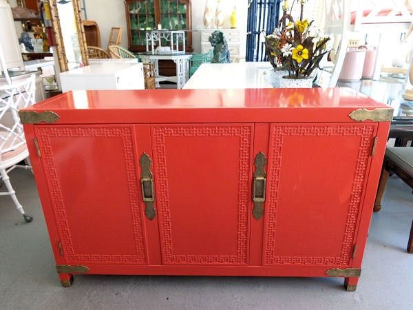 Ming Style Fretwork Cabinet   FRETWORK Cabinet In Nice As Found VINTAGE  Condition. There Are Minor Imperfections To The NEWLY Lacquered Finish.