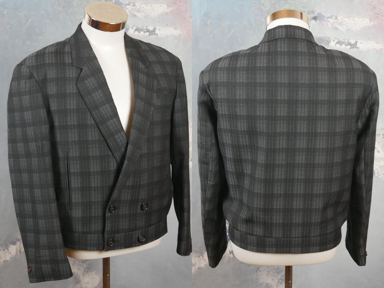 Vintage blackslate grey wool sportcoat wool blazer jacket
