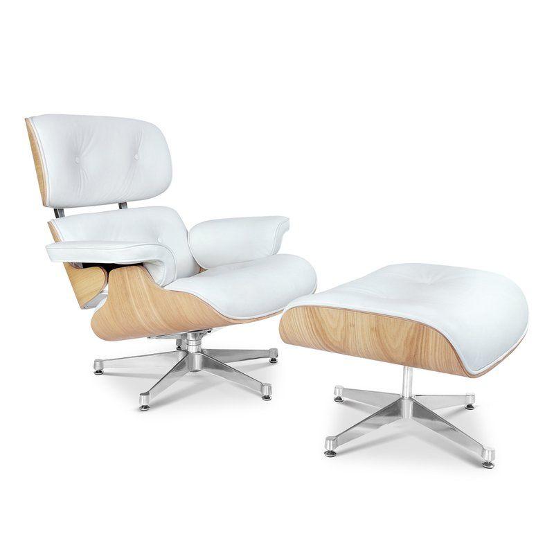 GroBartig Fauteuil Lounge Chair Du0027Eames Et Pouf Blanc Au Bois De Chêne