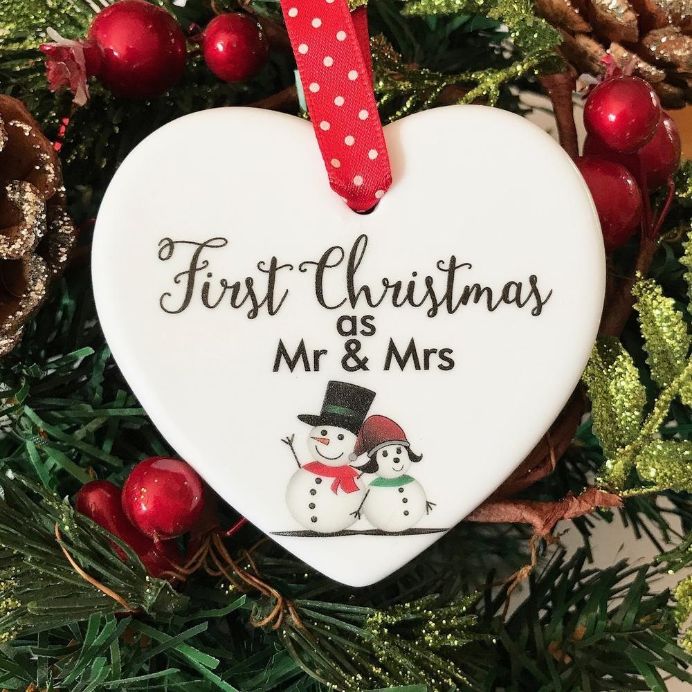 Christmas Ornament Plaid Christmas Ornaments Just Married Christmas Ornaments Mr and Mrs Couples Christmas Ornament Custom Ornaments
