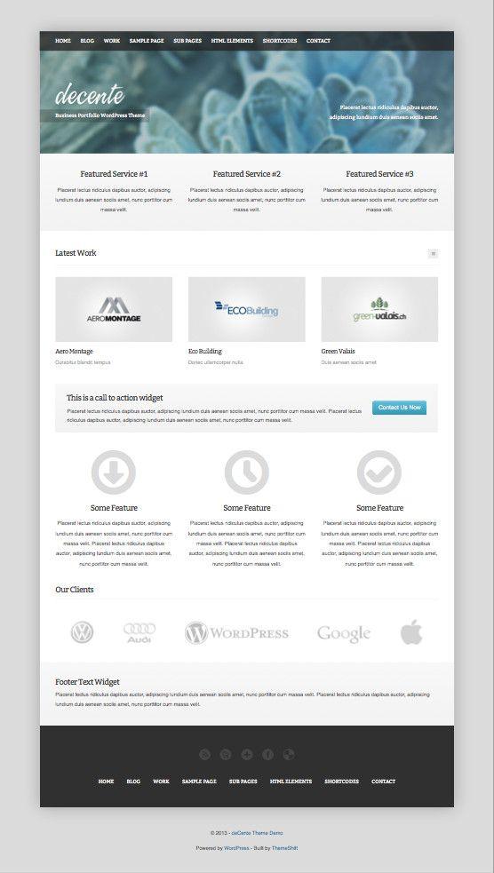 deCente: A Free Responsive WordPress Business Portfolio Theme - - Fribly