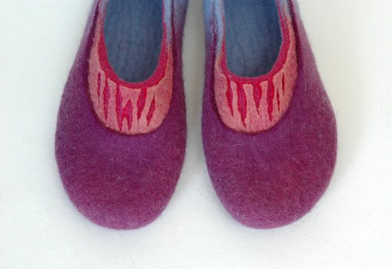 Hand Felted Slippers for Women Purple Rain Mother's day by jurgaZa, $69.00