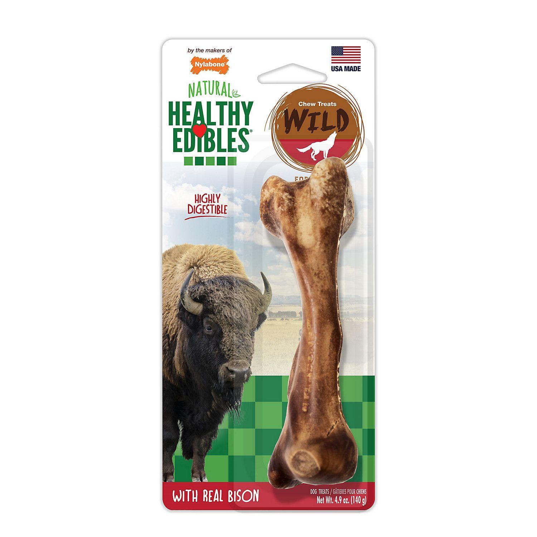 Nylabone Healthy Edibles Bison Flavored Large Dog Bone Chews 4 9